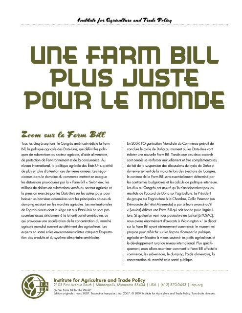 Une Farm Bill plus juste pour le monde - Institute for Agriculture and ...