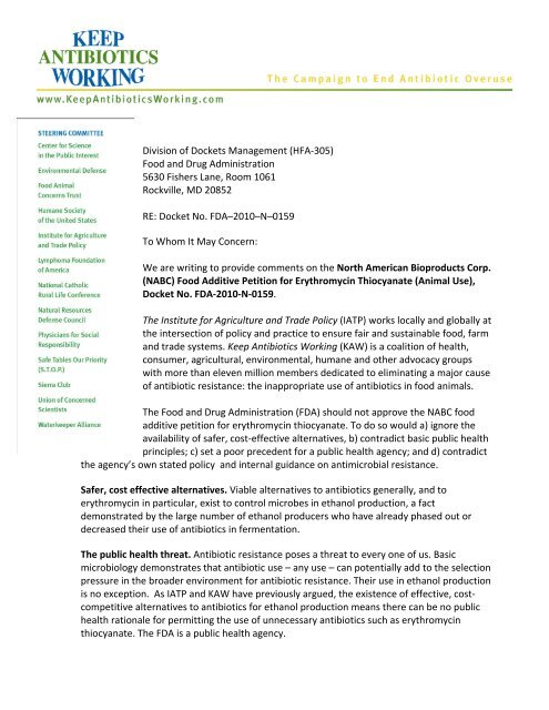 KAW comments to FDA re distillers grains - Keep Antibiotics Working