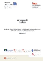 Titel Lernbaustein Hygiene - am Institut Arbeit und Wirtschaft