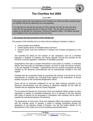 The Charities Act 2009 - The Wheel