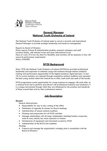 job description and details irish association of youth orchestras - Practice Director Job Description