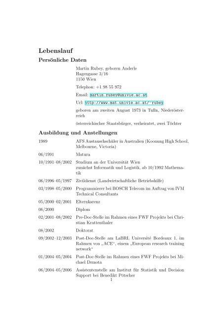 Lebenslauf Institut Fur Diskrete Mathematik Und Geometrie