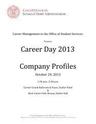 Career Day Profiles - Cornell School of Hotel Administration