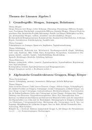 Themen der Linearen Algebra I 1 Grundbegriffe: Mengen, Aussagen ...
