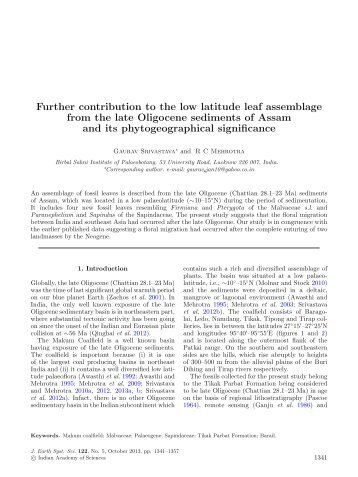 Further contribution to the low latitude leaf assemblage from the late ...