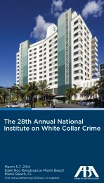 White Collar Crime National Institute - American Bar Association