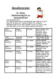 Messdienerplan - Messdiener St. Peter und Laurentius