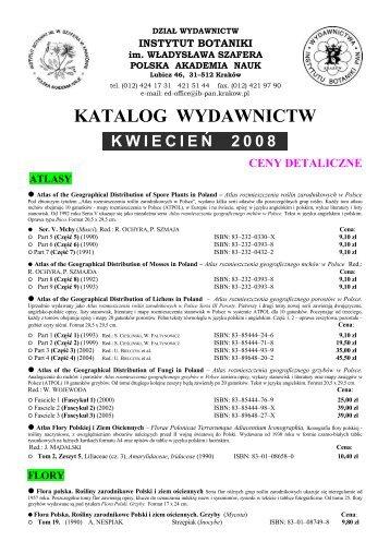 KATALOG WYDAWNICTW - Instytut Botaniki PAN