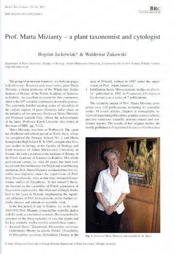 Prof. Marta Mizianty - Instytut Botaniki PAN