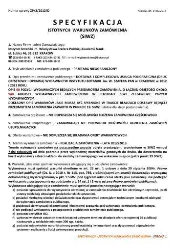 specyfikacja istotnych warunków zamówienia - Instytut Botaniki PAN
