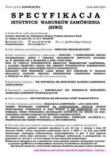 SIWZ - Instytut Botaniki PAN