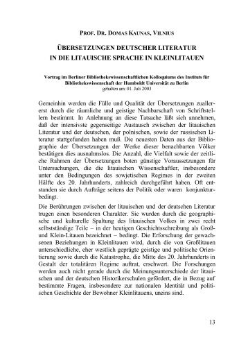 übersetzungen deutscher literatur in die litauische sprache in