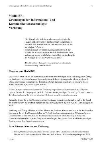 Modul BP1 Grundlagen der Informations- und ...