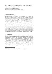 Google Scholar - Institut für Bibliothekswissenschaft - Humboldt ...