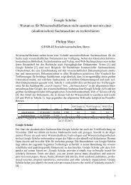 Google Scholar: Warum es für WissenschaftlerInnen nicht ausreicht ...