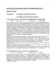 magisterstudiengang bibliothekswissenschaft - Institut für ...