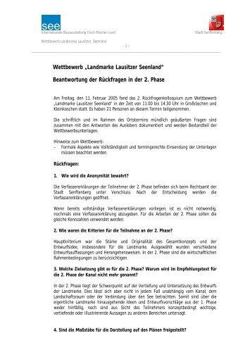 """Wettbewerb """"Landmarke Lausitzer Seenland"""" - Internationale ..."""