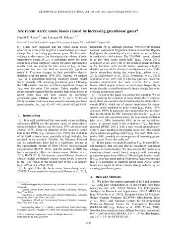 Are recent Arctic ozone losses caused by increasing greenhouse ...