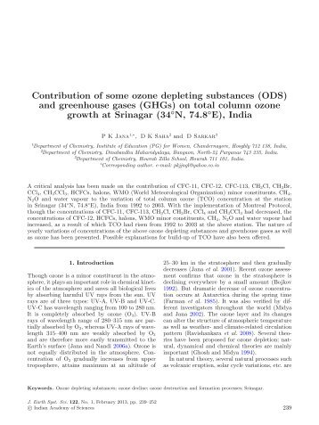 Contribution of some ozone depleting substances (ODS) - Indian ...