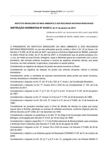 INSTRUÇÃO NORMATIVA Nº 03/2013, de 31 de janeiro de ... - Ibama
