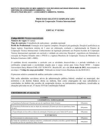 PROCESSO SELETIVO SIMPLIFICADO Projeto de ... - Ibama