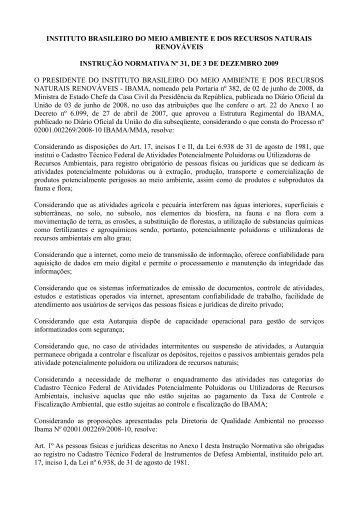 Instrução Normativa nº 31/2009 - Ibama