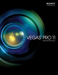 Vegas Pro 11.0 Keyboard Shortcuts - Sony Creative Software