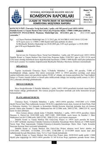 komisyon raporları - İstanbul Büyükşehir Belediyesi