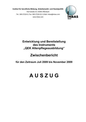 Auszug aus dem ersten QEK-Bericht für die Ausbildung in der ...