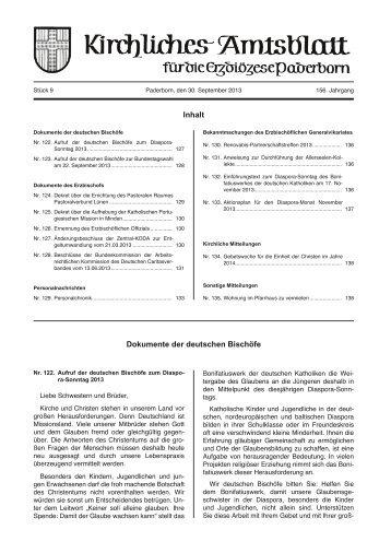 Kirchliches Amtsblatt 9/2013 - Erzbistum Paderborn