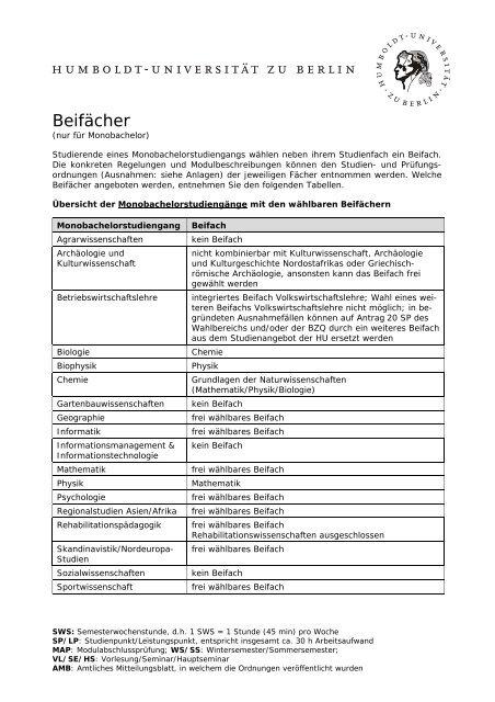 Beifächer zum WS 06/07 - Humboldt-Universität zu Berlin
