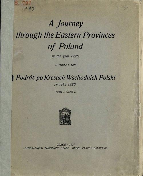 Podroz po Kresach Wschodnich Polski w roku 1926. T. 1, cz. 1