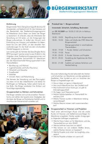 Protokoll der 1. Bürgerwerkstatt - Stadt Ibbenbüren