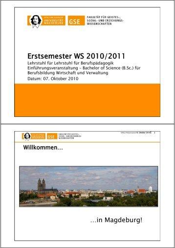 Erstsemester WS 2010/2011 - Institut für Berufs- und ...