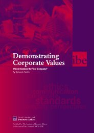 Demonstrating Corporate Values - Institute of Business Ethics