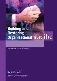 Building and Restoring Organisational Trust - Institute of Business ...