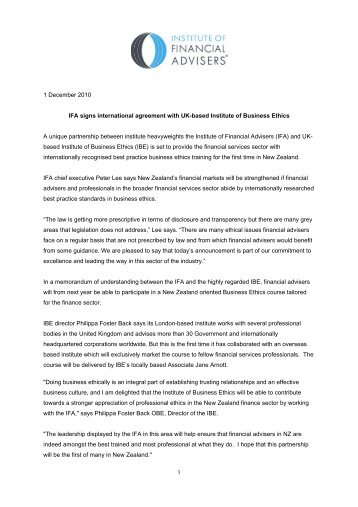 link to press release. - Institute of Business Ethics