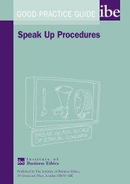 Speak Up Procedures - Institute of Business Ethics