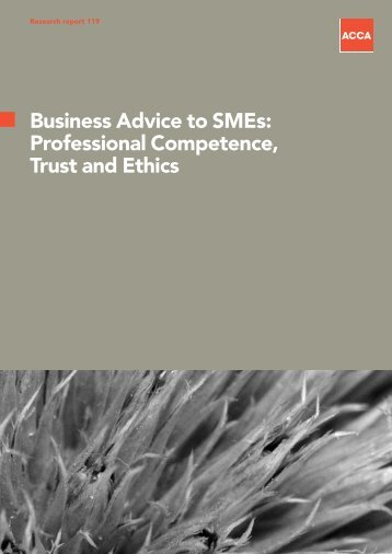 Business Advice to SMEs: Professional Competence, Trust and Ethics
