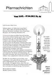 Pfarrnachrichten Nr. 04-2013 - Bistum Hildesheim