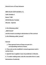 General terms of lease between IBER VILLAS COSTA BLANCA, S.L. ...