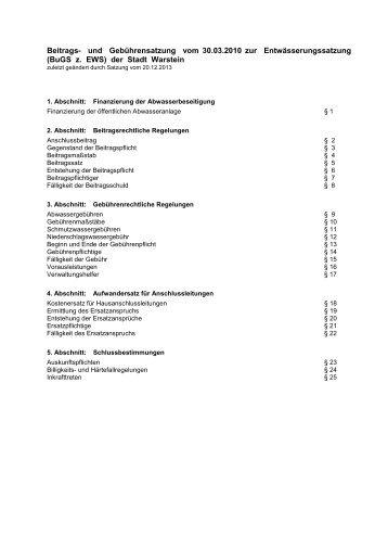 Beitrags- und Gebührensatzung zur Entwässerungssatzung - Warstein
