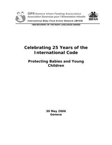 Celebrating 25 Years of the International Code - IBFAN