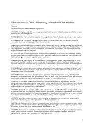 The International Code of Marketing of Breastmilk Substitutes - IBFAN