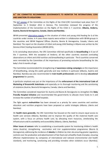 Report on the 61st Session 17 September / 5 October 2012 - IBFAN