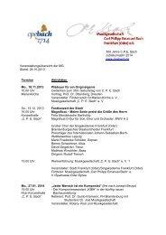 300 Jahre C.P.E. Bach Jubiläumsjahr 2014 www.cpebach.de ...