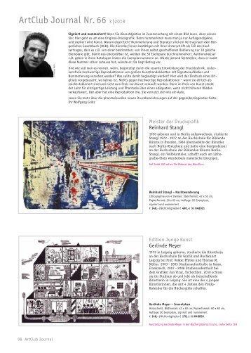 ArtClub Journal Nr. 66 3|2013 - Der Frankfurter Grafikbrief