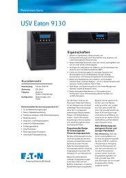 Datenblatt Eaton 9130i - bei der IBH IT-Service GmbH