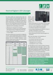 Hochverfügbare USV-Lösungen - bei der IBH IT-Service GmbH