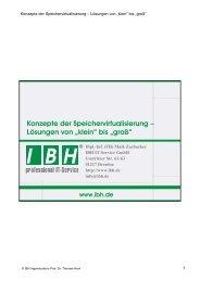 Konzepte der Speichervirtualisierung - bei der IBH IT-Service GmbH